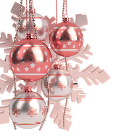 glossy red christmas bulbs isolated on white background. 3D render