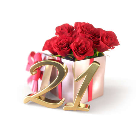 birthday concept with red roses in gift isolated on white background. twenty-first. 21st. 3D render