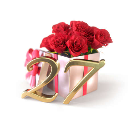 birthday concept with red roses in gift isolated on white background. twenty-seventh. 27th. 3D render 스톡 콘텐츠