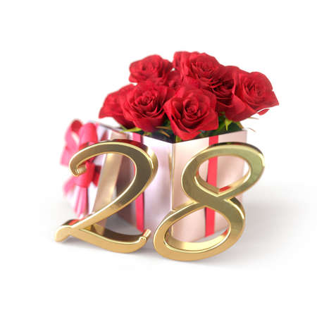 birthday concept with red roses in gift isolated on white background. twenty-eighth. 28th. 3D render 스톡 콘텐츠