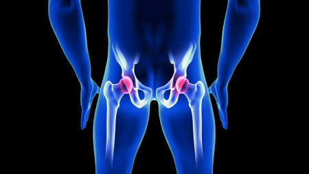 Hip Pain close-up illustration. Blue Human Anatomy Body 3D Scan render on black background