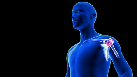 Shoulders Pain close-up illustration. Blue Human Anatomy Body 3D Scan render on black background