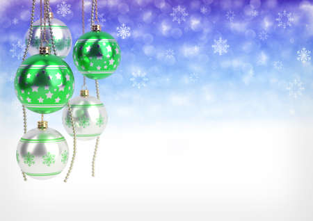 green and silver christmas balls hanging on bokeh background. 3D render