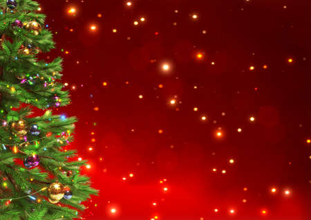 Decorated christmas tree on red bokeh background. 3D illustration