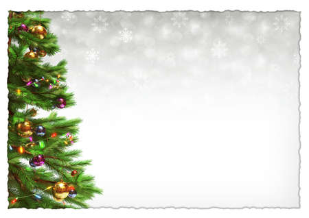 Decorated christmas tree on white bokeh background. 3D illustration
