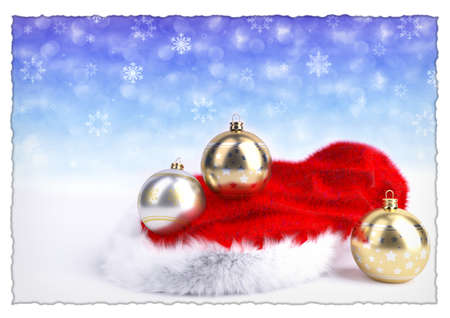 christmas balls with santa red hat on bokeh background. 3D illustration