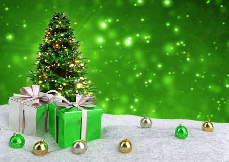 Christmas tree and gifts in snow on bokeh green background. 3D illustration 스톡 콘텐츠