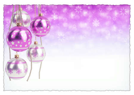 glossy pink christmas bulbs on bokeh background. 3D render