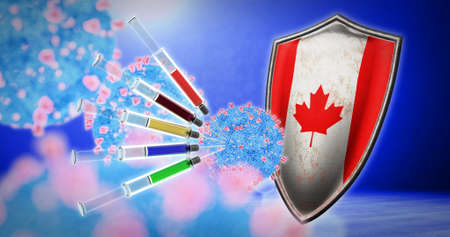 coronavirus vaccination in the Canada - 3D render
