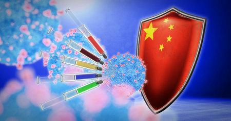 coronavirus vaccination in the China - 3D render