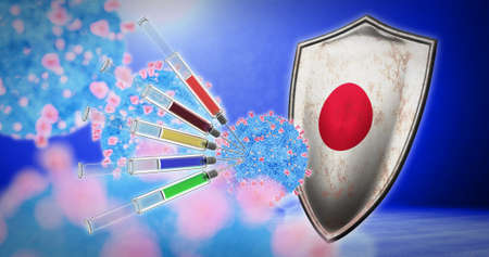 coronavirus vaccination in the Japan - 3D render 스톡 콘텐츠