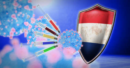coronavirus vaccination in the Netherlands - 3D render 스톡 콘텐츠