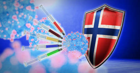 coronavirus vaccination in the Norway - 3D render 스톡 콘텐츠