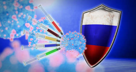 coronavirus vaccination in the Russia - 3D render