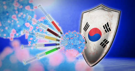 coronavirus vaccination in the South Korea - 3D render