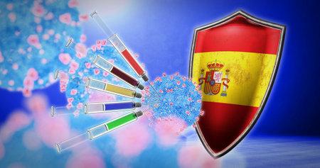 coronavirus vaccination in the Spain - 3D render