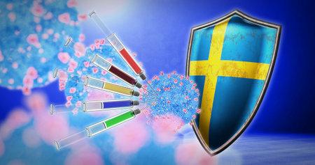 coronavirus vaccination in the Sweden - 3D render