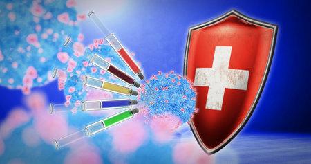 coronavirus vaccination in the Switzerland - 3D render Standard-Bild