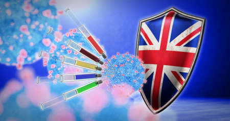 coronavirus vaccination in the United Kingdom - 3D render