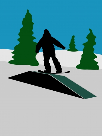 Background with snowboarder on mountains Stock Vector - 16673036