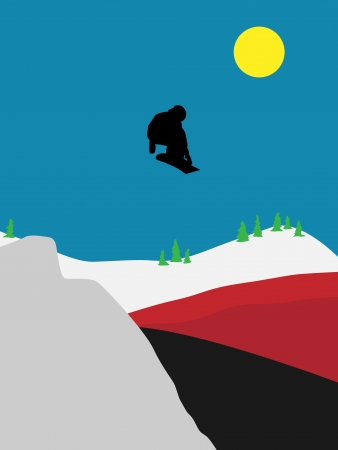 illustration  jumping snowboarder to the red pillow Vector