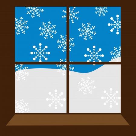 vista ventana: ventana de invierno con copos de nieve