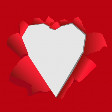 Heart from paper - Valentines day card Vector