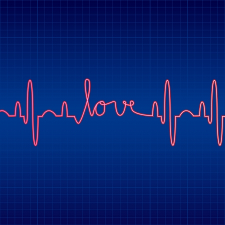 illustration of cardiogram with Love on a blue background Vector