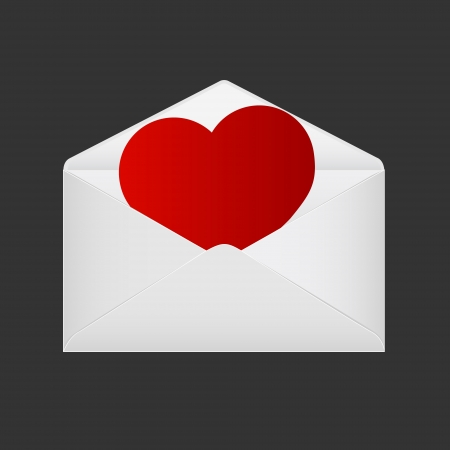 Valentine Day Greetings  Heart in the open envelope  Stock Vector - 17608872