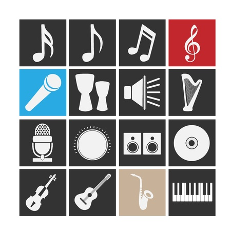 Set of icons on a theme music   Vector
