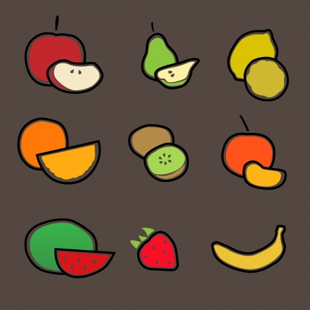 Different fresh fruit icon set Vector