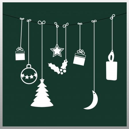 Eenvoudige groene kerstkaart Stock Illustratie