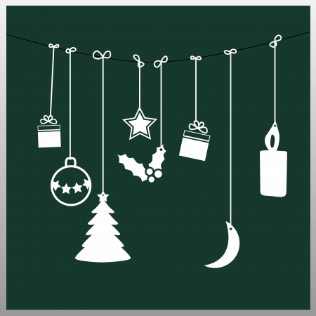christmas baubles: Simple green christmas card Illustration