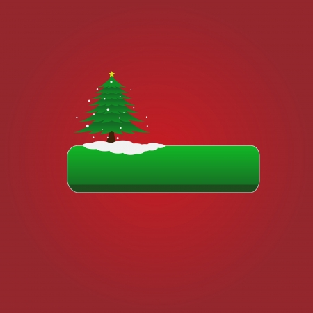 Christmas vector green button with tree Illustration