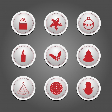 Set of badges and stickers for Christmas  Vector