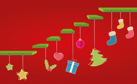 Christmas vector steps with decoration Vector