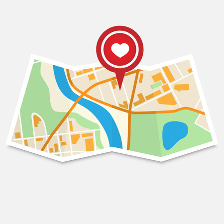 City Map With Valentine Marker Vector