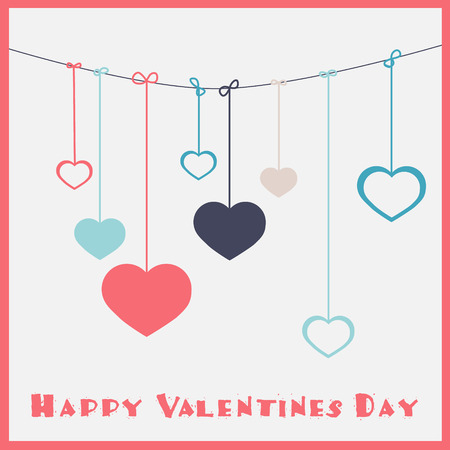 Happy Valentines Day - Hanging Hearts Vector