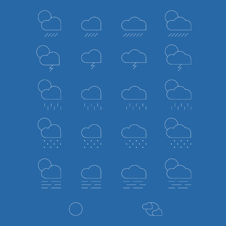 Weather icons set on blue background - vector Vector