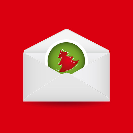 Christmas tree with open envelope. Vector