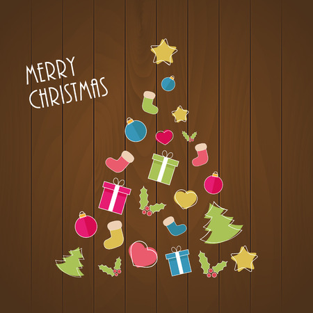 Christmas tree from ornaments on wooden background Vector
