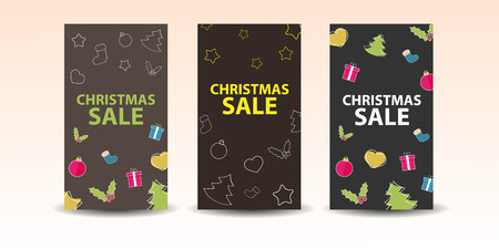 Set of christmas banners with decoration Vector