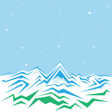 piste: Vector of the high winter mountains Illustration