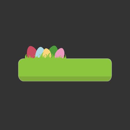 Easter vector green button with eggs Vector