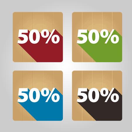 Set of 4 flat wooden icons - 50 percent. Vector