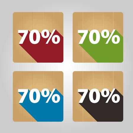 Set of 4 flat wooden icons - 70 percent. Vector