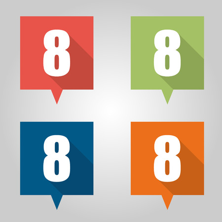 Set of flat pin marker Icons with numbers Vector
