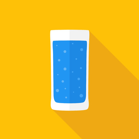 Glass of water. Flat icon with shadow. Vector illustration. Vector