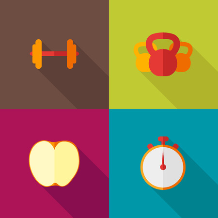 Ffitness flat icons with long shadow Vector