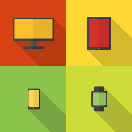 Flat design - computer, tablet, smart phone and watch - elements for web and mobile applications. Vector